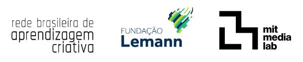 banner com os nomes da rede brasileira de aprendizagem criativa, fundação lemann e mit media lab