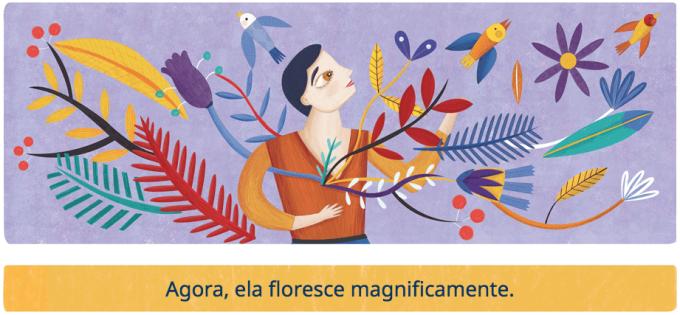 ilustração de mulher com ramos de árvores e flores e pássaros