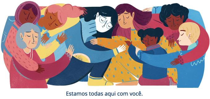 Ilustração de diferentes mulheres se abraçando