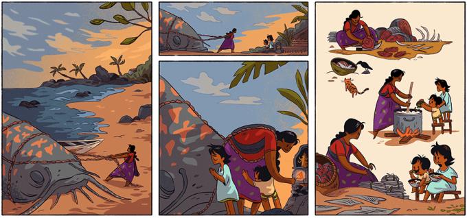 Ilustração de mulher pescando peixe gigante e preparando-o para a família