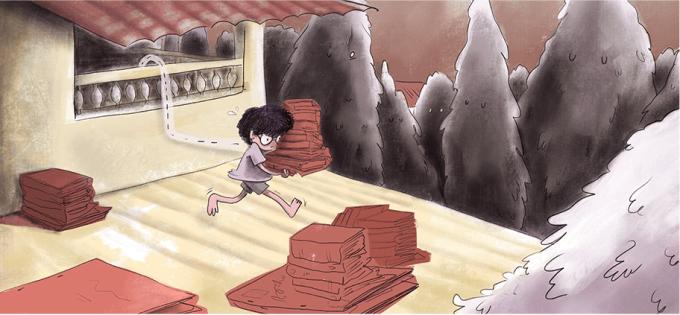 Ilustração de menina carregando livros