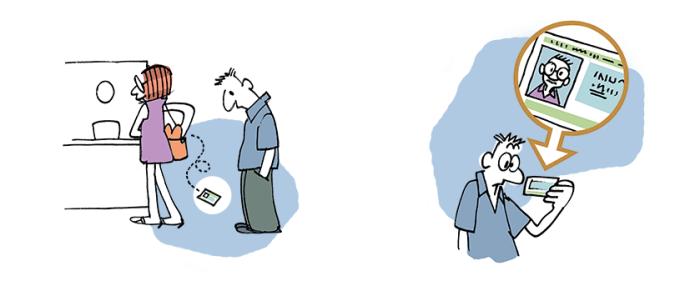 Ilustração de mulher derrubando documento de identidade e homem pegando para olhar