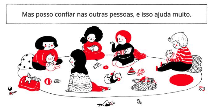 Ilustração de mulheres em círculo com bebês