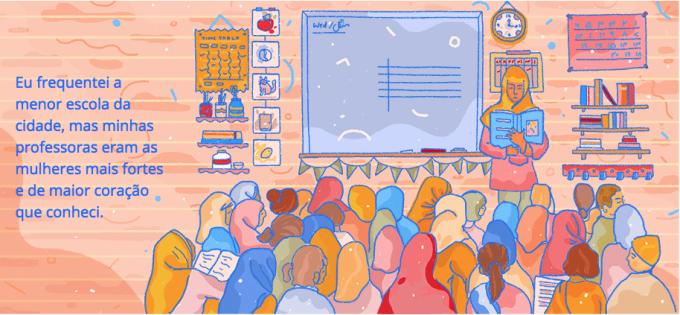 Ilustração de professora com alunos
