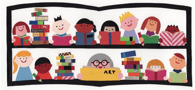 Ilustração de crianças com livros
