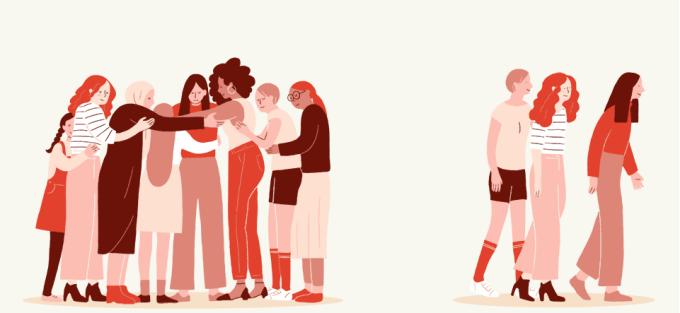 Ilustração de mulheres se abraçando