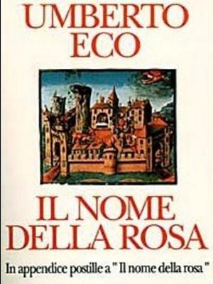 Capa do livro O Nome da Rosa, versão italiana, apresenta a ilustração de um castelo medieval.