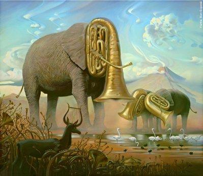 """Vladimir Kush (Moscou, 1965) é um pintor que se identifica com o """"realismo de metamorfose"""" ou """"fine art"""", com desenhos e pinturas que formam imagens """"impossíveis"""", se utilizando de truques de imagens e/ou elementos que se formam em outros. Em relação ao """"African Sonata"""", o artista diz que o trombetear dos elefantes é um som de alegria que surge com o aparecimento de seu rei, seu mestre. Os elefantes chamam outros animais e aves para comemorar a vida e a ocasião do próprio ser e lideram esta sinfonia. O elefante encarna sabedoria, longevidade, fidelidade, tolerância e compaixão. Na tradição grega, uma lira feita de chifres de antílope foi o instrumento de Apolo, o deus da profecia e da música. Ao toca-la, Orfeu dominou animais selvagens e árvores encantadas e montanhas. De acordo com a doutrina Hindu, quando Krishna tocou a flauta, o cosmos começou a se mover e a criação do mundo começou. <br> <br> Palavras-chave: realismo metafórico, Vladimir Kush, realidade, arte, estética, ilusão, mito <br> <br>"""