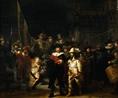 Rembrandt, A companhia militar do capitão Frans Banning Cocq e o tenente Willem van Ruytenburg (A Ronda Noturna), 1642, Óleo sobre tela, 379.5cm x 453.5cm, Rijksmuseum, Amsterdã. Este famoso quadro caracteriza a maestria sóbria da arte barroca aplicada aos motivos cotidianos.<br><br> Palavras-chave: ronda, ronda noturna, Rembrandt, arte, cor, pintura, Holanda, holandês, arte holandesa, chiaroscuro, luz, cor, sombra, barroco, estética
