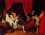 A Morte de Leonardo da Vinci, por Ingres (1818).<br>Leonardo morreu em Clos Lucé, em 2 de maio de 1519. Francisco havia se tornado um grande amigo; e Vasari relata que o rei segurava a cabeça de Leonardo em seus braços quando este morreu — embora a história, amada pelos franceses e retratada em pinturas românticas de artistas como Ingres e Angelica Kauffmann, possa ser mais lenda do que realidade.<br><br>Palavras-chave: morte, da Vinci, renascimento, luz, cor, sombra, arte cristã, representação, arte, estética, filosofia da arte