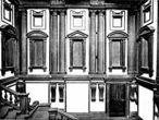 Michelangelo: Detalhe do vestíbulo da Biblioteca Laurenciana.