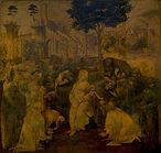 Leonardo da Vinci, A Adoração dos Magos, (1481–1482) — Uffizi. Em março de 1481, a Leonardo foi encomendada esta pintura, pelos monges de São Donato Scopeto em Florença. O notário do mosteiro era o pai de Leonardo, e é muito provável que tenha induzido os monges a contratar seu filho. <br><br> Palavras-chave: da Vinci, renascimento, luz, cor, sombra, representação, arte, estética, filosofia da arte