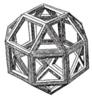 Representação de um Rombicuboctaedro por Leonardo, publicado em De Divina Proportioni de Pacioli.