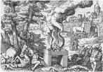 Laocoonte e seus filhos atacados pelas serpentes, à esquerda, e o cavalo sendo levado para a cidade, ao fundo. Gravura de Giovanni Battista Fontana (século XVI).  <br> <br> Palavras-chave: Laocoonte, Fontana, gravura, arte, estética