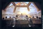 La Última Cena (A Última Ceia) é um famosa pintura realizada por Salvador Dalí em 1955. Pintura a óleo sobre tela, mede 167 cm de altura e 268 de largura e está na Galeria Nacional de Arte de Washington DC. Essa obra causou polêmica quando apresentada ao público, pois a imagem de Dali como artista irreverente e provocador não combinava com o tema religioso. Alguns críticos a denunciaram como banal, enquanto outros acreditam que Dali conseguiu dar mais vida à imagem tradicional da devoção. Jesus e seus 12 apóstolos estão reunidos numa sala modernista envidraçada. Os apóstolos, com as cabeças baixas, ajoelham em torno de uma grande mesa de pedra, suas formas sólidas contrastam com a transparência de Cristo. Sobre a cena, paira misteriosamente a imagem de um homem com os braços abertos, como se abençoasse o grupo ali reunido, talvez tendo alguma relação ao espírito santo. Dali construiu este quadro surrealista baseando-se nos estudos de Leonardo da Vinci (que pintou a mais famosa das Santas Ceias). Esta obra é uma representação moderna da famosa A Última Ceia de Leonardo da Vinci. <br> <br> Palavras-chave: Dali, Leonardo, Da Vinci, ceia, religião, pintura, surrealismo, arte, estética