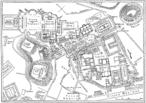 Vista externa do Coliseu de Roma. Mapa do centro de Roma durante o Império Romano, com o Coliseu a nordeste, fora do núcleo urbano, no canto superior direito. <br> <br> Palavras-chave: Coliseu, Roma, poder, teatro, Império Romano, mapa, representação, estética