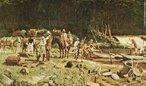 Rafael Falco, Brasil Colônia, óleo sobre tela.. Retrata uma das primeiras aldeias durante o período colonial.  <br> <br> Palavras-chave: Brasil, colônia, Rafael Falco, aldeia, pintura, estética