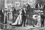 Uma das sátiras da moda (Du Maurier). <br> A Private View at the Royal Academy, 1881 é um quadro do pintor inglês William Powell Frith exposto na Academia Real Inglesa (Londres)em 1883. Ele retrata um grupo na Era vitoriana visitando a Academia Real Inglesa em 1881, logo após a morte do Primeiro ministro Benjamin Disraeli, cujo retrato feito por John Everett Millais foi incluído na cena para atender um pedido especial da Rainha Victória. Ele é visível no arco, ao fundo da sala.