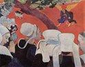 Paul Gauguin (1848–1903), La Vision après le Sermon (La Lutte de Jacob avec l'Ange), 1888, óleo sobre tela, 73 × 92cm, Galeria Nacional da Escócia. A pintura, simbólica e espiritual, geralmente é considerada a primeira obra prima de Gauguin. As mulheres de Breton, usando as típicas toucas cerimoniais, acabam de ouvir um sermão do padre, baseado em um versículo do Gênesis, sobre a noite em que Jacó passou pelejando com um anjo misterioso. A composição, repleta de cores fortes apresenta grande dramaticidade e se distigue da maior parte das obras da década de 1880, quando era esperada uma adesão ao naturalismo. Depois de diversas exposições o pintor decidiu se isolar e desenvolver um estilo próprio, dando início ao sintetismo, estilo de arte que tinha afinidades com o simbolismo e procurava a simplificação da forma, além da aplicação de cores vivas em objetos toscamente modelados. A cena da luta está na cabeça das pessoas que rezam depois do sermão, e uma árvore diagonalmente disposta separa os dois temas da obra. Os tons escuros das roupas das mulheres representam seu pertencimento ao mundo terreno, fazendo contraste com as cores vivas que se referem ao caráter espiritual da visão.  <br><br>Palavras-chave: Gauguin, naturalismo, pós-modernismo, estética, arte, forma