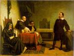 Galileu Galilei frente ao tribunal da inquisição romana, pintura de Cristiano Banti. <br> Galileu ante o Santo Ofício. A condenação de Galileu por heresia marca o divórcio definitivo entre o pensamento científico e o religioso. Nascia a ciência moderna.