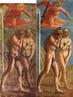 Antes e depois da restauração. Obra de Masaccio (1401–1428), realizada entre 1426-1428 (primeira imagem de 1680, restauro em 1980).