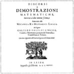 Capa de Discorsi e Dimostrazioni Matematiche Intorno a Due Nuove Scienze, de Galileu Galilei, publicada em Leiden em 1638. <br><br>Palavras-chave: Galileu, obra, matemática, ciência, teoria do conhecimento, filosofia da ciência