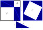 Neste teorema, a soma das áreas dos quadrados construídos sobre os catetos (a e b) equivale à área do quadrado construído sobre a hipotenusa