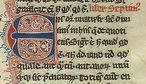 Começo do livro 7 da Metafísica de Aristóteles, traduzido para o latim por Guilherme de Moerbeke. Manuscrito do século 14.