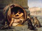 Diógenes sentado em seu barril cercado por cães. Pintura de Jean-Léon Gérôme de 1860. <br> Diógenes de Sinope (em grego antigo: &#916;&#953;&#959;&#947;&#941;&#957;&#951;&#962; &#8001; &#931;&#953;&#957;&#969;&#960;&#949;&#973;&#962;; Sinope, 404 ou 412 a.C. – Corinto, c. 323 a.C.2 ), também conhecido como Diógenes, o Cínico, foi um filósofo da Grécia Antiga. Os detalhes de sua vida são conhecidos através de anedotas (chreia), especialmente as reunidas por Diógenes Laércio em sua obra Vidas e Opiniões de Filósofos Eminentes.