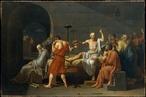 A Morte de Sócrates (fr: La Mort de Socrate) é uma pintura de 1787 do pintor francês Jacques-Louis David. <br> Representa a cena de morte do filósofo grego Sócrates, por ter sido contra as ideias dos atenienses e corromper a mente dos mais jovens. A pintura também retrata Platão e Críton, com o primeiro sentado melancolicamente na beira da cama e Críton segurando o joelho de Sócrates. Sócrates tinha a opção de ir para o exílio (e, portanto, desistir de sua vocação filosófica) ou ser condenado à morte. Sócrates escolheu a morte. No quadro, de vestes vermelhas, um discípulo de Sócrates, segura a taça de Conium. A mão de Sócrates aponta para o céu, indicando a sua reverência aos deuses e atitude corajosa pela sua morte. <br> Esta pintura é considerada uma das maiores obras de Jacques-Louis David e está exposta em Nova Iorque no Metropolitan Museum of Art.<br><br> Palavras-chave: Sócrates, morte, ironia, maiêutica, quadro, representação, pintura, David, história da filosofia, filosofia, teorica do conhecimento
